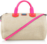 Meredith Wendell Large leather-trimmed raffia duffle bag