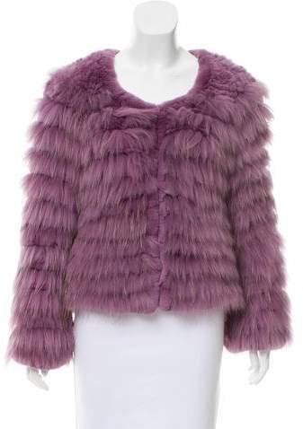 Alice + Olivia Collarless Fur Jacket