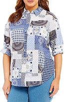 Allison Daley Plus 3/4 Sleeve Patch Print Button Front Blouse