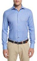 Peter Millar Flannel Long-Sleeve Sport Shirt, Cobalto