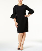 Betsy & Adam Plus Size Bell-Sleeve Sheath Dress