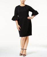 Betsy & Adam Plus Size Bell-Sleeve Sheath Dress