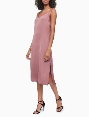 Calvin Klein Solid V-Neck Sleeveless Slip Dress