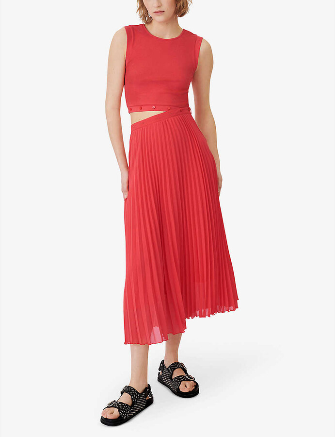 Thumbnail for your product : Maje Riplit pleated jersey-woven midi dress
