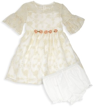 Laura Ashley Baby Girl's 2-Piece Embroidered Mesh Dress & Bloomers Set