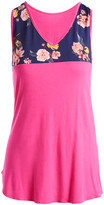 Cool Melon Women's Tank Tops Fuchsia - Fuchsia & Navy Floral V-Neck Tank - Women