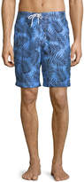"Trunks Surf & Swim Co. Swami 8"" Palm-Leaf Print Swim Shorts, Blue"