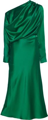 MATÉRIEL One-Shoulder Draped Silk-Satin Midi Dress