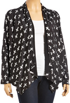 Black & Silver Cross Front Drape Cardigan - Plus