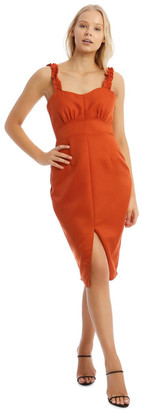 Missguided Button Detail Frill Strap Midi Dress Orange