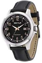Sector Men's Quartz Watch with Silver Dial Analogue Display and Black Leather Strap R3251290003