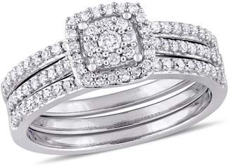Concerto 14K White Gold 0.5 CT. T.W. Diamond Cluster Halo Bridal Rings