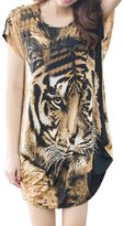 uxcell® Lady Fashion Tiger Pattern Batwing Sleeve Tunic T-Shirt S