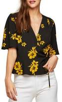 Miss Selfridge Ochre Floral Peplum Wrap Top
