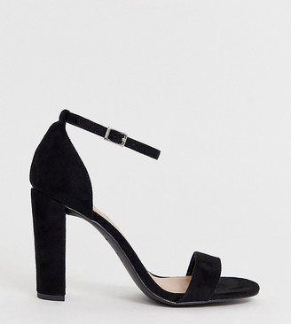New Look Wide Fit heeled sandals in black