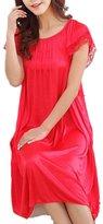 LJYH Women's Solid Short Sleeve Silky Long Nightgown Sleepwear Dress