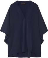 Hatch Notched Crepe Blouse - Storm blue