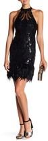 Minuet Feather Detail Sequin Dress