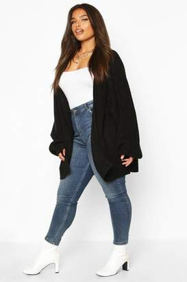 boohoo Plus Chunky Knit Raglan Sleeve Cardigan