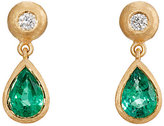 Malcolm Betts Women's White Diamond & Emerald Double-Drop Earrings