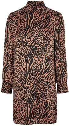 Rails Selma animal-print satin shirt dress