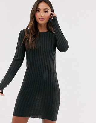 Brave Soul mando jumper dress in charcoal-Grey