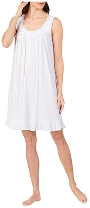 Eileen West Modal Spandex Knit Sleeveless Short Nightgown (White) Women's Clothing