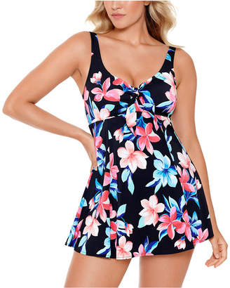 Swim Solutions Lanai Printed Bow-Front Tummy Control Swimdress, Women Swimsuit