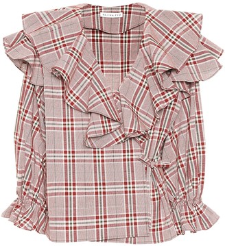 REJINA PYO Plaid cotton wrap top