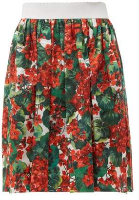 Dolce & Gabbana Geranium-print Cotton-poplin Skirt - Womens - Red Multi