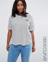 Asos Longline Stripe T-Shirt With Sequin Star Badge
