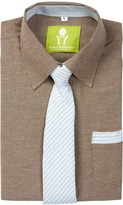 Future Trillionaire Little Riot Solid Chambray Shirt & Striped Tie (Toddler, Little Boys, & Big Boys)