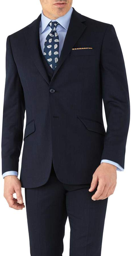 Charles Tyrwhitt Navy Slim Fit Hairline Business Suit Wool Jacket Size 36