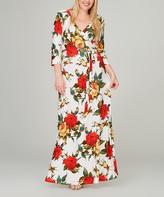 Tua Off-White & Red Rose Surplice Maxi Dress - Plus