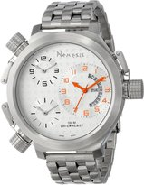 Nemesis Men's ST080S Signature Collection 3-TimeZone Orange Silver Metal Band Watch