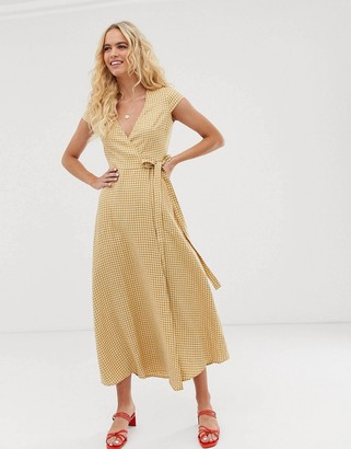 And other stories & linen midi wrap dress in yellow gingham