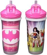 Playtex Baby Sipsters Spill-Proof DC Superfriends Kids Straw Cup, Stage 3 (12+ Months), Pink, Pack of 2
