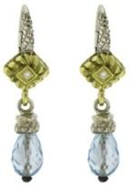Judith Ripka 18K Gold And Sterling Silver Diamond And Blue Topaz Dangle Earrings