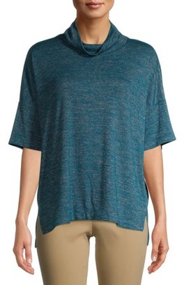 Time and Tru Women's Short Sleeve Mockneck Hacci T-Shirt