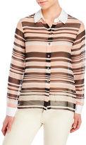 Vince Camuto Petite Sheer Stripe Woven Shirt
