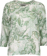 Alfred Dunner Sage Floral Three-Quarter Sleeve Top - Petite
