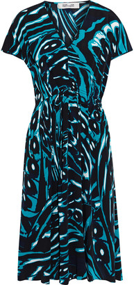 Diane von Furstenberg Cardea Gathered Printed Silk Crepe De Chine Dress
