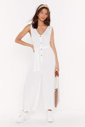 Nasty Gal Womens Waisted Button Through Jumpsuit - White - L, White