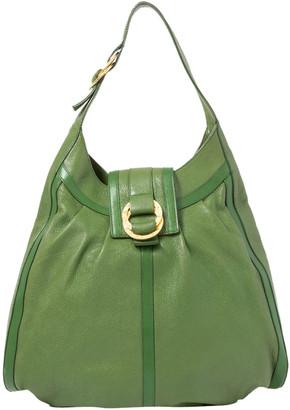 Bvlgari Green Leather Shoulder Bag