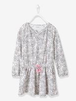 Vertbaudet Girls Printed Long-Sleeved Dress