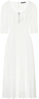 ALEXACHUNG Embroidered cotton midi dress