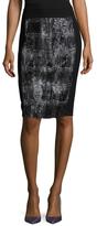 BCBGMAXAZRIA Faux Fur Panel Pencil Skirt