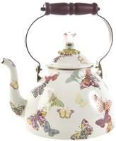 Mackenzie Childs MacKenzie-Childs - Butterfly Garden Enamel Tea Kettle - White - Small