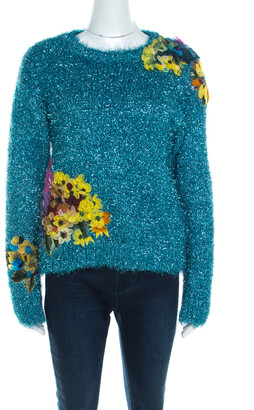 Dolce & Gabbana Metallic Blue Tinsel Rib Knit Floral Applique Sweater S