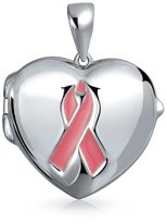 Bling Jewelry 925 Silver Ribbon Cancer Awareness Heart Locket Pendant